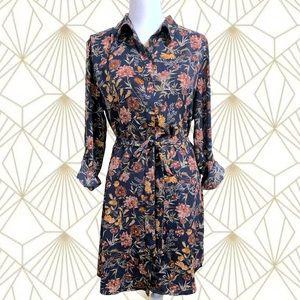 💐Belted Floral Button Down Shirt Dress💐